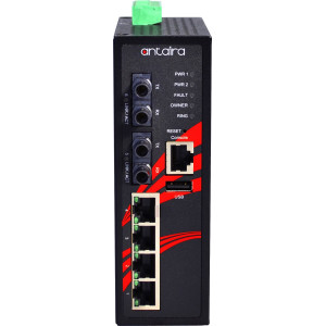 Antaira LMP-0602 6-port  PoE+ Managed Ethernet Switch, 30W/Port, Dual 100FX