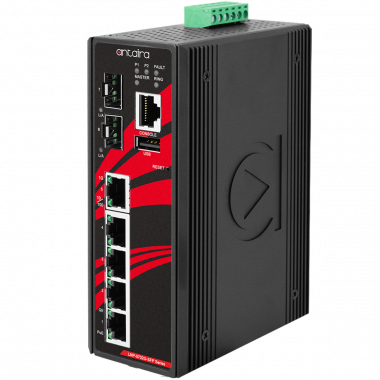 Antaira LMP-0702G-SFP-V2 7-Port PoE+ Managed Gb Ethernet Switch, 2 SFP Slots