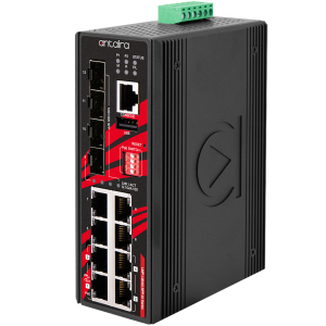 Antaira LMP-1204G-SFP-bt (-T, -24) 12-Port Industrial Gb Managed Ethernet Switch, PoE++