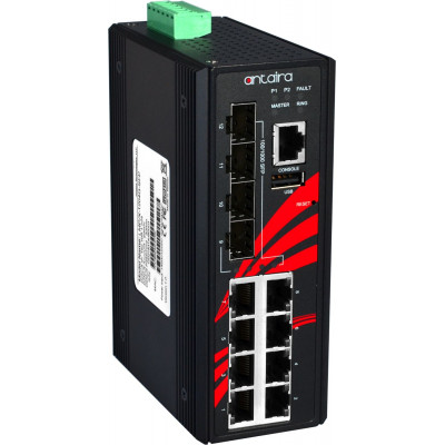 Antaira LMP-1204G-SFP 12-Port Industrial Gigabit PoE+ Managed Ethernet Switch