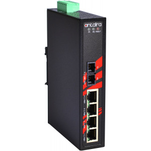 Antaira LNP-0501 5-Port  PoE+ Unmanaged Ethernet Switch, 30W/Port, 100Fx Port