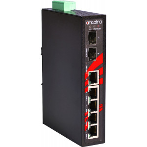 Antaira LNP-0702G-SFP 7-Port  PoE+  Unmanaged Gb Ethernet Switch, 30W/Port, Dual SFP Slots
