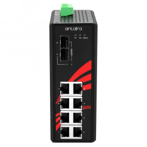 Antaira LNP-1002G-10G-SFP 10-Port PoE+ Unmanaged Gigabit Ethernet Switch, 10G SFPs