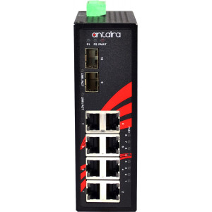 Antaira LNP-1002G-SFP-T-CC 10-Port  PoE+ Unmanaged Gb Ethernet Switch, Dual SFP Slots