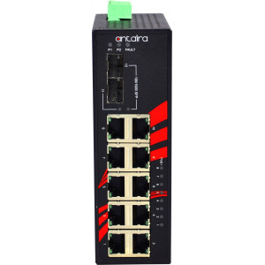 Antaira LNP-1202G-SFP 12-Port  PoE+  Unmanaged Gb Ethernet Switch, 30W/Port, Dual SFP Slots