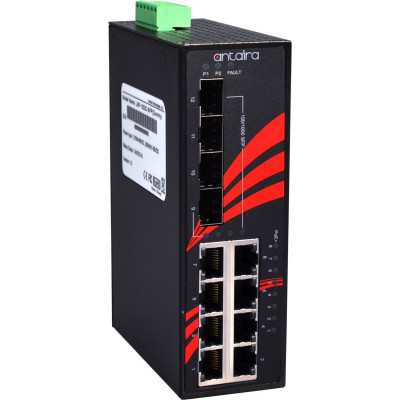 Antaira LNP-1204G-SFP 12-Port  PoE+  Unmanaged Gb Ethernet Switch, 30W/Port, Quad SFP Slots
