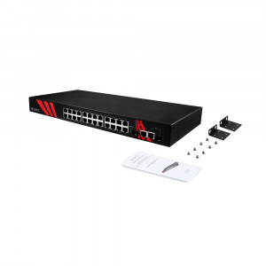 Antaira LNP-2602-SFP (-T) 26-Port 1U PoE Unmanaged Ethernet Switch, 2 SFP Slots