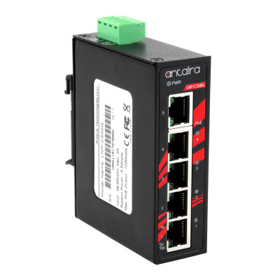 Antaira LNP-C500G 5-Port PoE+ Unmanaged Gb Ethernet Switch, 30W / Port