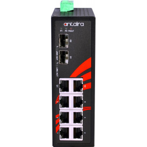 Antaira LNX-0802C-SFP 8-Port Unmanaged Fast Ethernet Switch, 2 SFP Ports