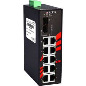 Antaira LNX-1002C-SFP 10-Port Gb Unmanaged Ethernet Switch, 2 x Gb Combo Ports
