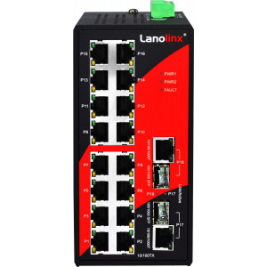 Antaira LNX-1802G 18-Port Unmanaged Ethernet Switch, 2 x Gb Combo Ports