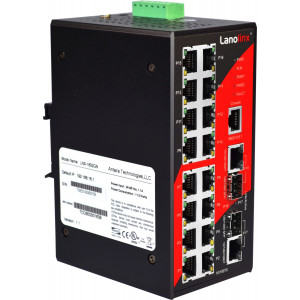 Antaira LNX-1802GN 18-Port Managed Ethernet Switch, Dual GigE Combo Ports