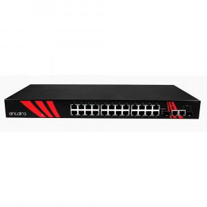 Antaira LNX-2602G-SFP 26-Port 1U Managed Ethernet Switch, Dual SFP Ports
