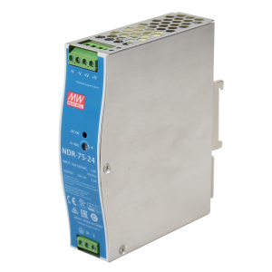 Antaira NDR-75 75W Industrial DIN Rail Power Supply, 12V, 24V or 48V Output