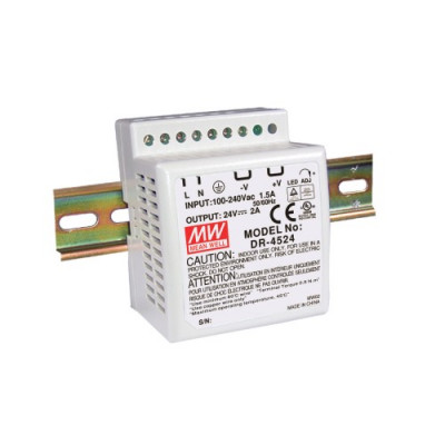 Antaira DR-45 45W Industrial DIN-Rail Power Supply, 12V or 24V Output