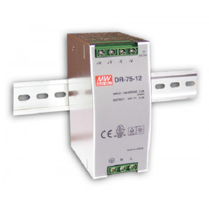 Antaira DR-75 75W Industrial DIN Rail Power Supply, 12V, 24V or 48V Out