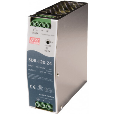 Antaira SDR-120 120W Industrial DIN Rail Power Supply, PFC, 12V, 24V or 48V Out