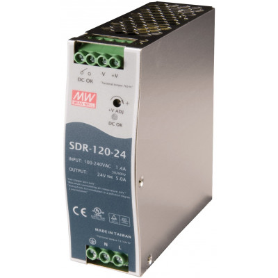 Antaira SDR-120 120W Industrial DIN Rail Power Supply, PFC, 12V, 24V or 48V Out