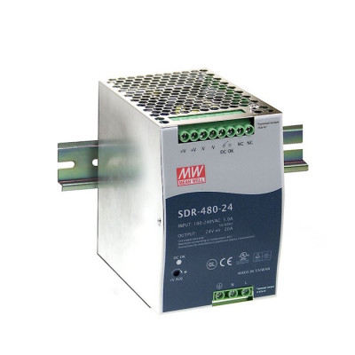 Antaira SDR-480 480W Industrial DIN Rail Power Supply, PFC, 24V or 48V Out