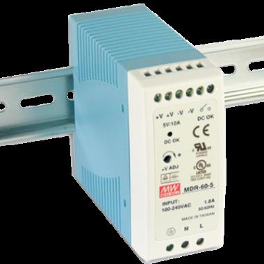 Antaira MDR-60 60W Miniature DIN Rail Power Supply, 5V, 12V, 24V, or 48V Out